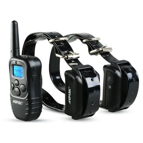 AGPtek Rechargeable Waterproof 2 Dog Training Collar 100 Level Shock Vibra LCD Remote