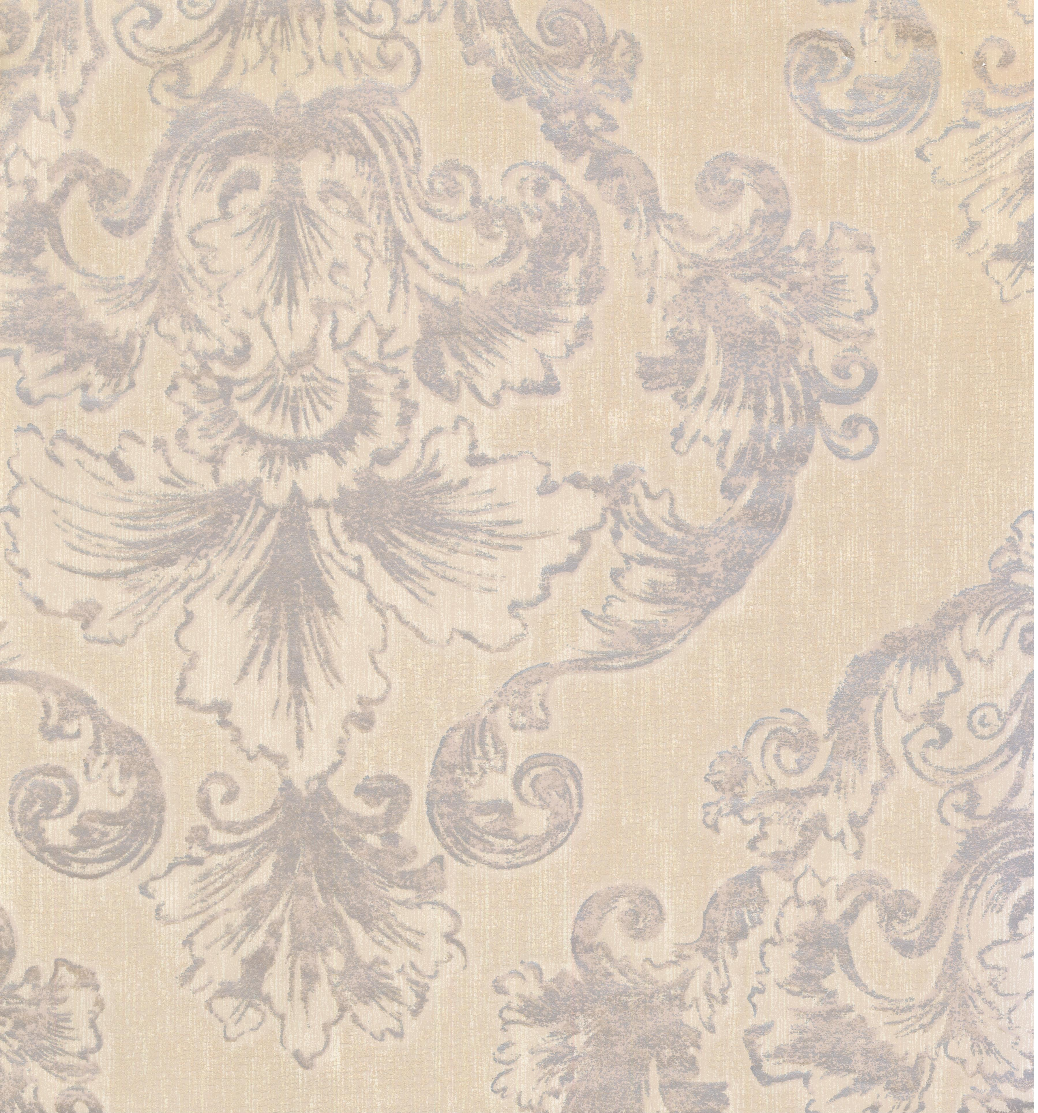DAMASK - Traditional Unpasted Color Cream, Violet Wallpaper Roll - image 1 of 1