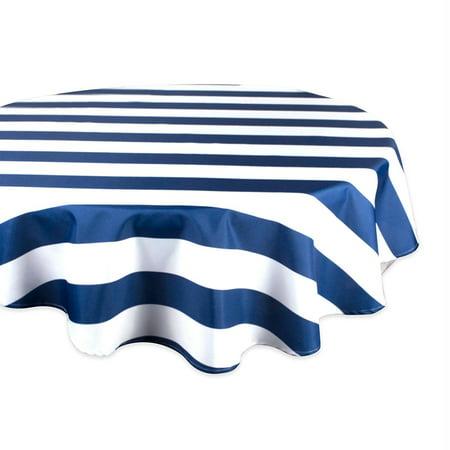 DII Nautical Blue Cabana Stripe Outdoor Tablecloth 60 - 60 Round Tablecloth