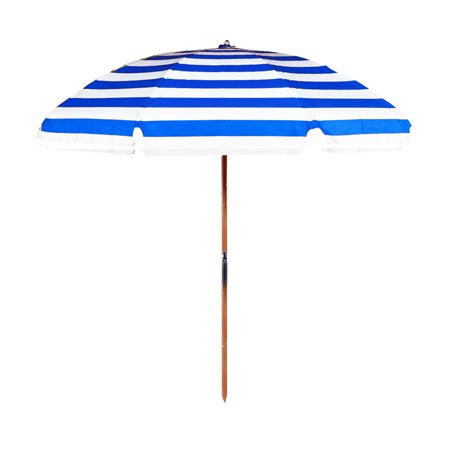 Quick Ship 7.5 ft. Steel Commercial Grade Wooden Pole Beach Umbrella with Acrylic Fabric - No Carry Bag