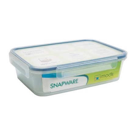 Snapware Airtight Plastic 4.5-Cup Rectangle Food Storage Container, 6-Pack