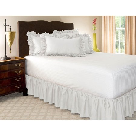 Beading Skirt - KING WHITE Solid Bed Bedding Skirt Soft 100% Soft Smooth Microfiber Pleated-Only on 4 Corners
