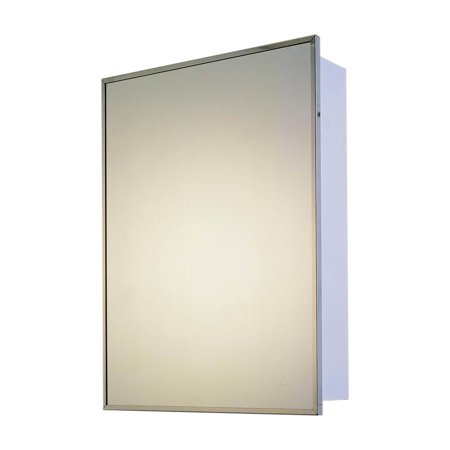 """Ketcham Cabinets Deluxe Series Recessed Mounted Stainless Steel Framed Single Door Medicine Cabinet - 14""""x20"""""""