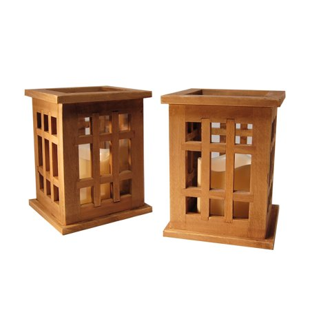LumaBase Natural Brown Wooden Lanterns with LED Candles - Set of Two