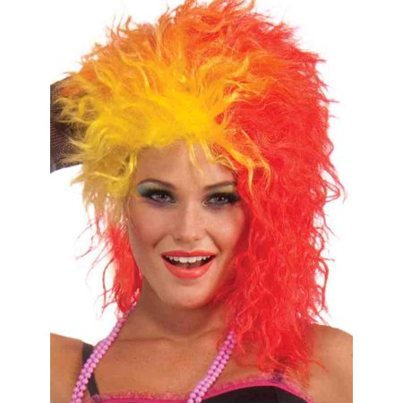 Womens 80s Dance Party Princess Red Orange and Yellow Costume Wig