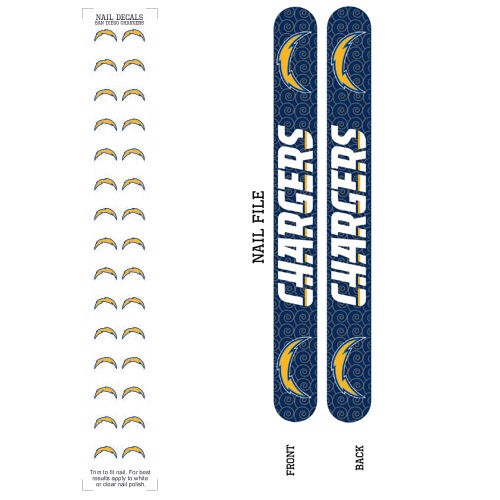 Bundle 2 Items: San Diego Chargers Nail File and Nail Sticker Decals