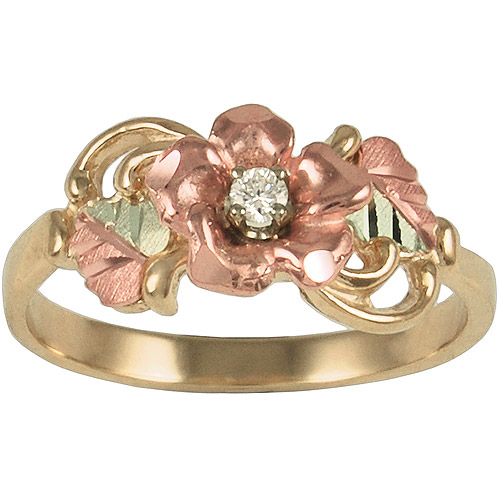 Black Hills Gold Women's 10kt with 12kt Gold Leaves Diamond Accented Dakota Rose Ring