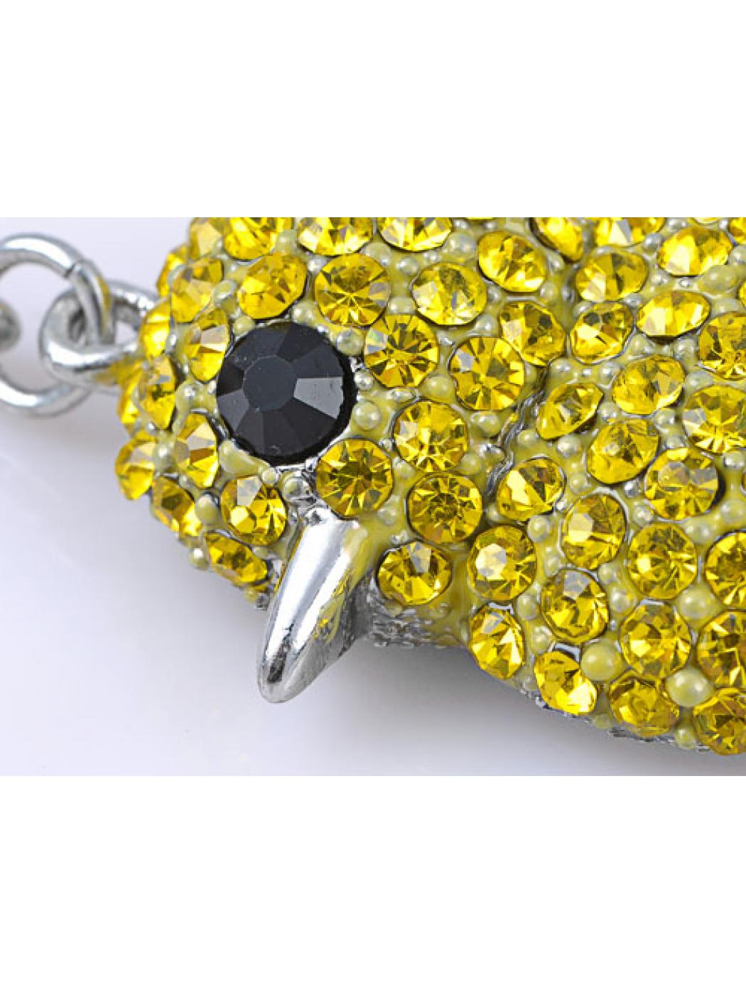 Canary Yellow Crystal Rhinestone Fat Baby Chicken Chick Peep Bird Cute Key Chain