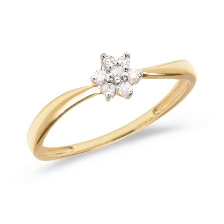 10K Yellow Gold Diamond Cluster Ring ()