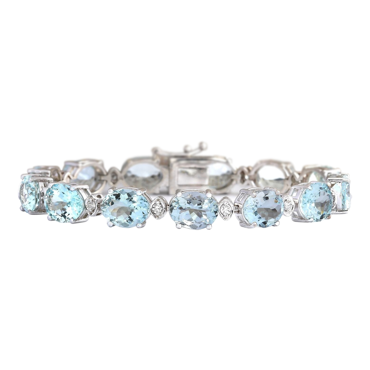 35.75 CTW Natural Aquamarine And Diamond Bracelet In 14k Solid White Gold by