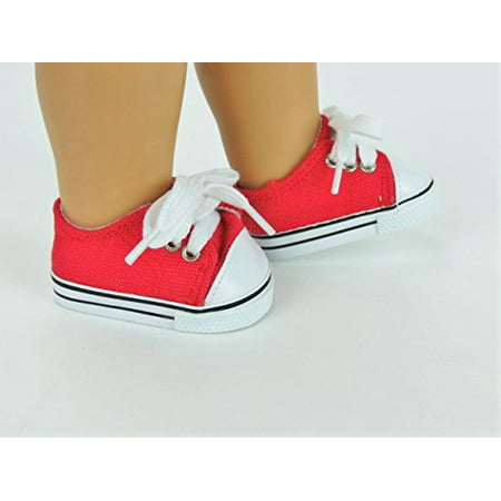 Red Low Top Sneakers  - Fits 18