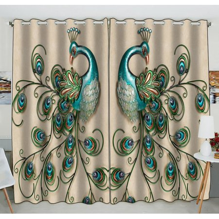 GCKG Beautiful Peacock Popular Peacock Feathers Window Curtain Kitchen Curtain Window Drapes Panel for Living Room Bedroom Size 52(W) x 84(H) inches (Two Piece)