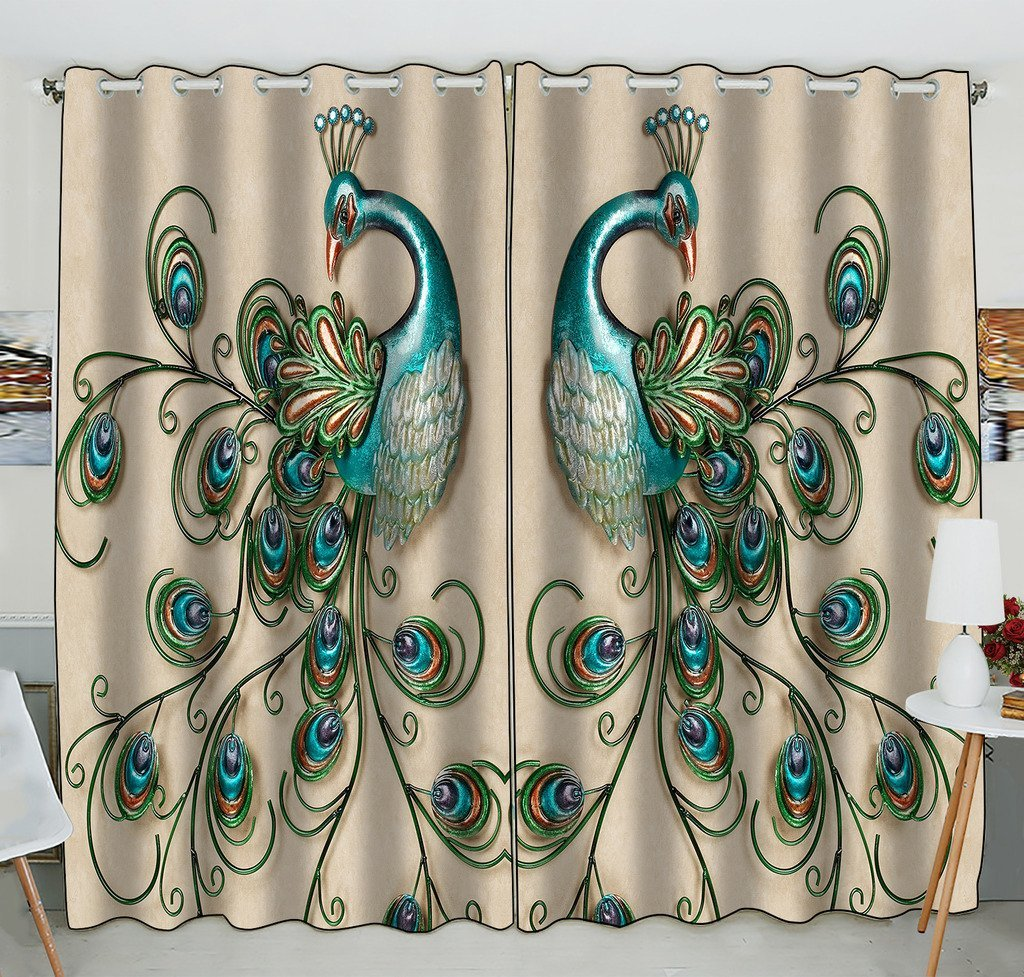 Gckg Beautiful Peacock Popular Peacock Feathers Window Curtain Kitchen Curtain Window Drapes Panel For Living Room Bedroom Size 52 W X84 H Inches