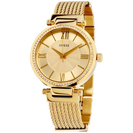 Guess Soho Gold Dial Stainless Steel Ladies Watch W0638L2 Guess Logo Dial Watch
