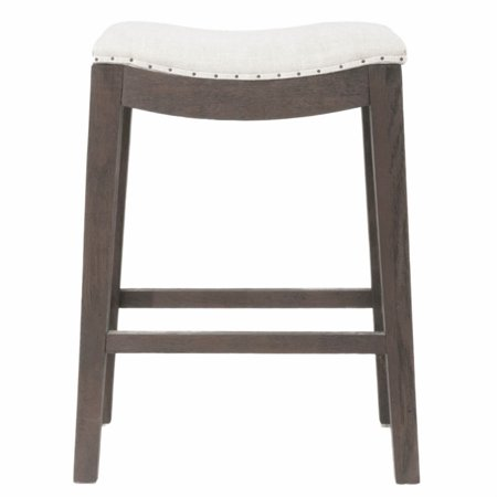 Maklaine Counter Stool in Rustic Java Oak and Bisque French Linen