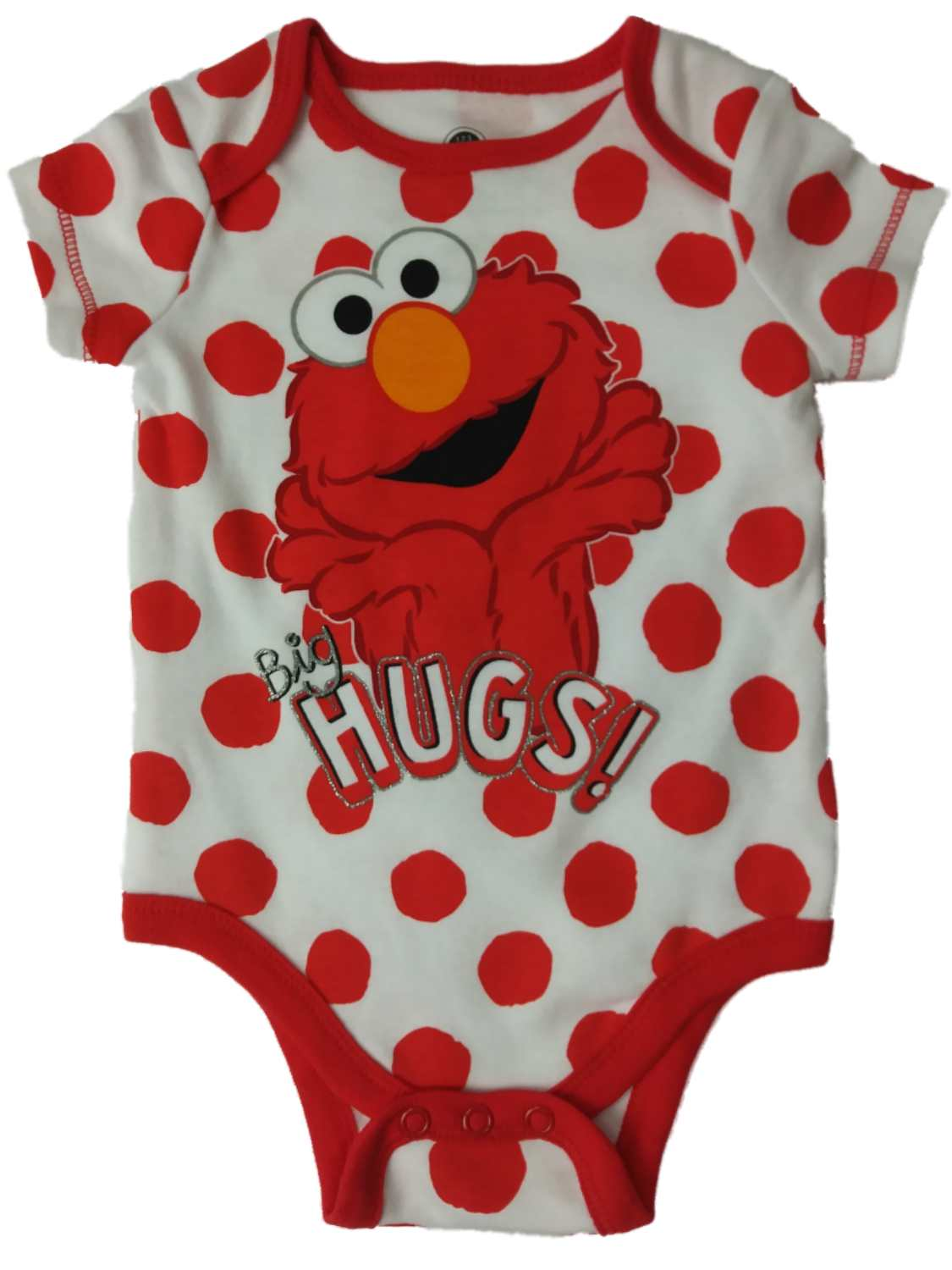 Infant Girls Sesame Street Elmo Big Hugs Single Outfit Polka Dot Baby Bodysuit