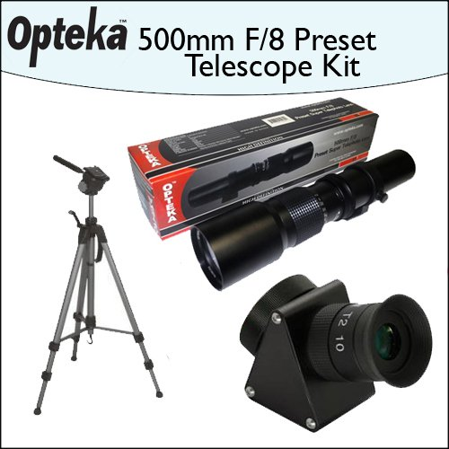 "Opteka 500mm f/8 High Definition Preset Telephoto Lens + Lens Converter To Telescope Kit + Opteka 70"" Professional Tripod"