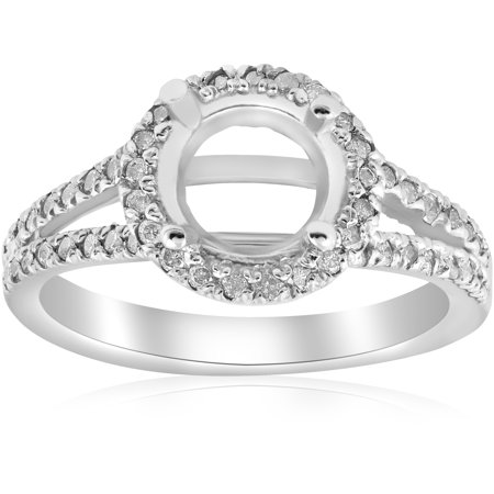 1/2ct Halo Split Shank Diamond Engagement Ring Setting 14k White Gold Semi -