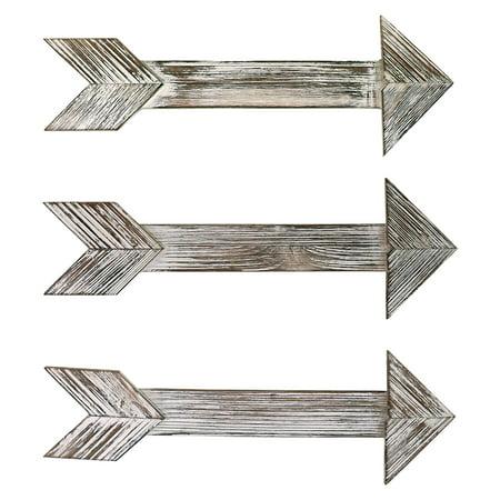 "Barnyard Designs Rustic Farmhouse Wooden Arrow Wall Decor - Set of 3 Decorative Wood Arrows Sign - Home Decor 17"" x 6"" ()"