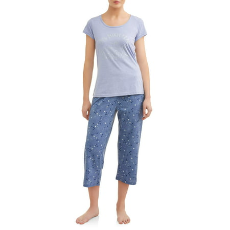 JV Apparel Women's and Women's Plus Knit 2-Piece Sleep Set](Halabaloo Clothing)