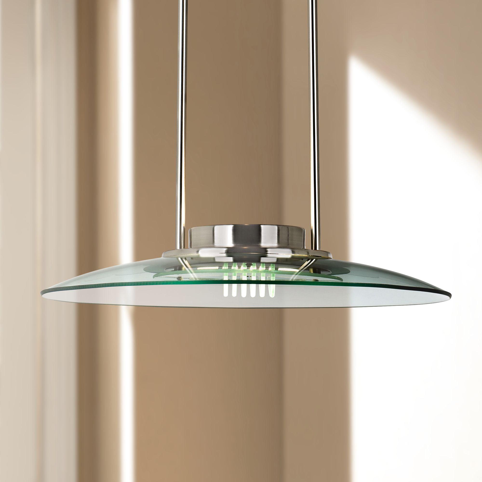 360 Lighting Brushed Nickel Pendant Light 19 Wide Modern Halogen Ribbed Glass For Kitchen Island Dining Room Walmart Com Walmart Com
