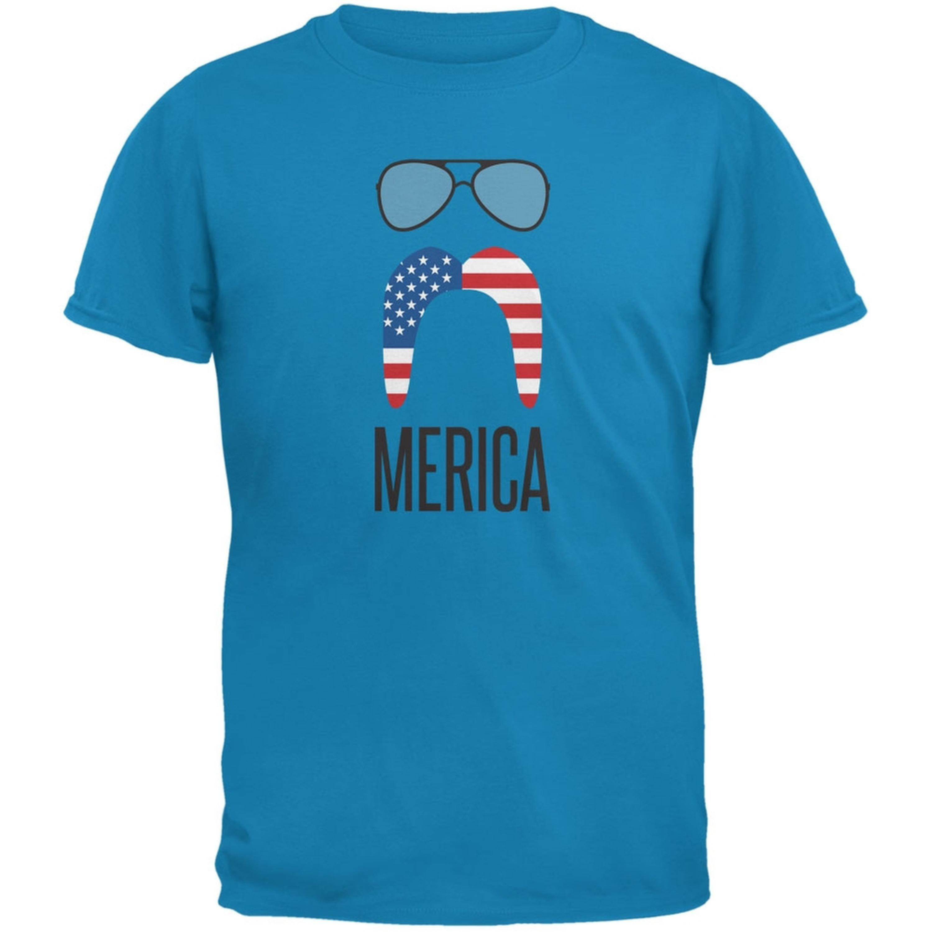 4th of July Merica Sunglasses and Mustache Sapphire Blue Adult T-Shirt