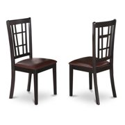 East West Furniture NIC-BLK-LC Nicoli Dining Chair with Faux Leather Seat in Black Finish Pack of 2