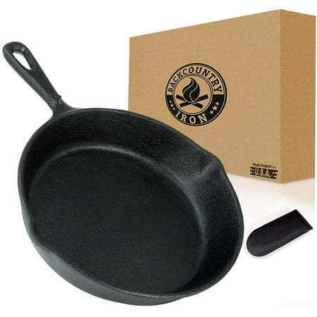 Backcountry Cast Iron Skillet (6 Inch Small Frying Pan + Cloth Handle Mitt, Pre-Seasoned for Non-Stick Like Surface, Cookware Oven / Broiler / Grill Safe, Kitchen Deep Fryer, Restaurant Chef