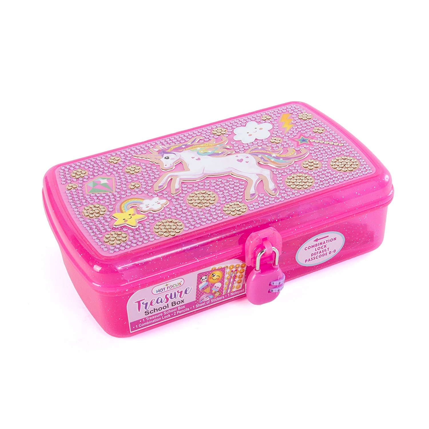 Hot Focus Treasure School Box with Lock Unicorn Girls Pencil Case Box Includes Pencils, Notepad and Stickers