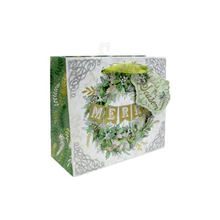 Punch Studio Winter Greens Gift Bag Med Horizontal (Green Halloween Punch Jello)