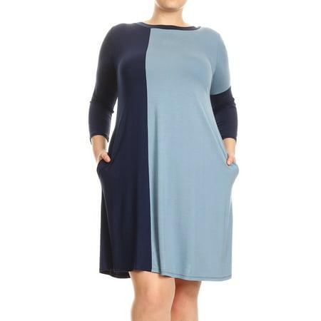 Women's Plus Size Trendy Style Color Block Short - Dress Color Block