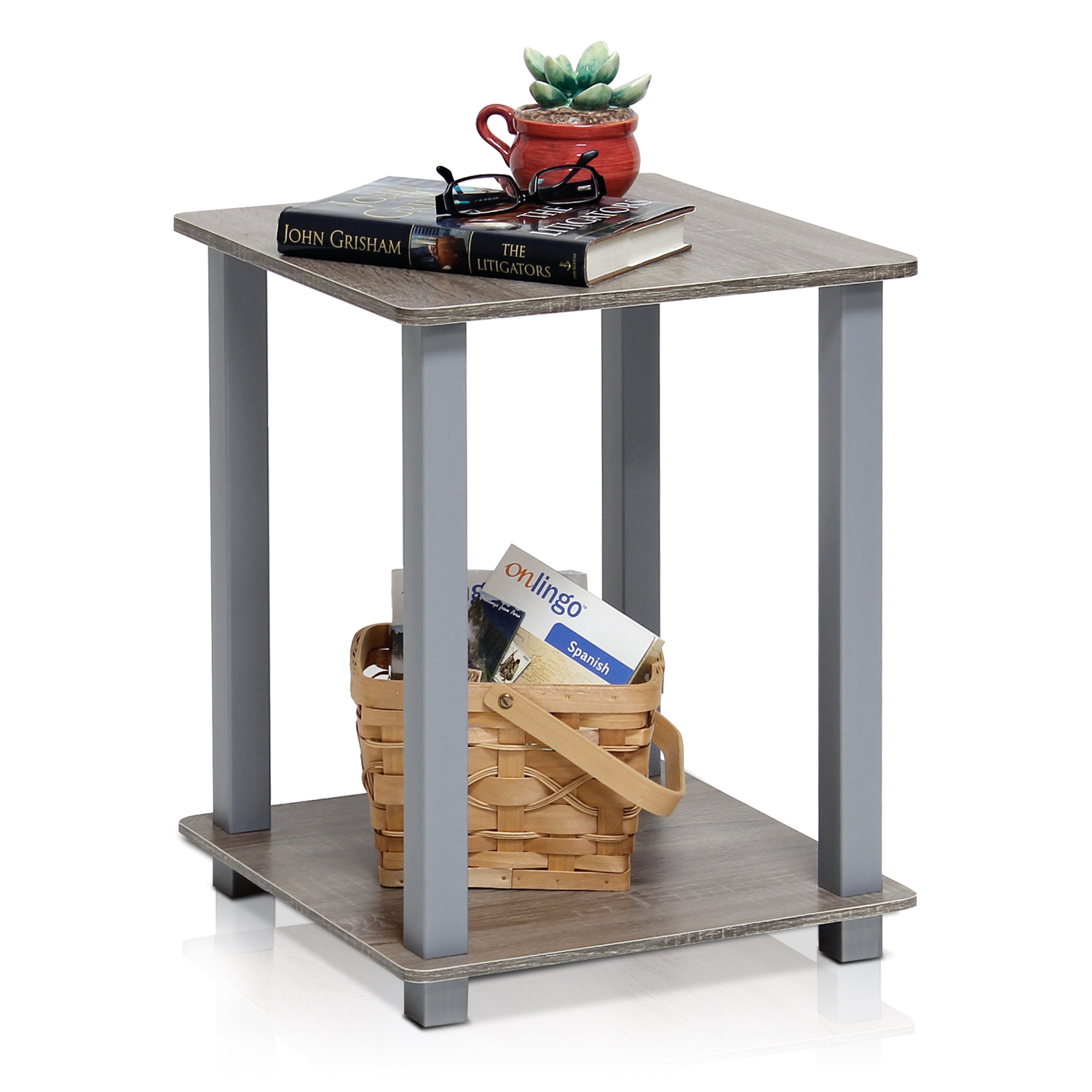 Furinno 12127 Simplistic End Table, Set of Two, Americano/Black