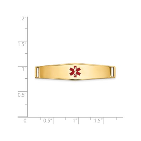 14k Yellow Gold Epoxy Enameled Medical ID Ctr Soft Diamond Shape Plate # 818 - image 1 of 2
