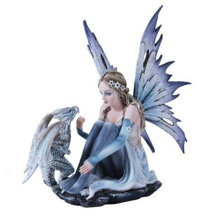 Snowflake Winter Fairy and White Leopard Dragon Mystical Statue Figurine ()