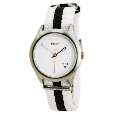 Nixon A344177 Men's The Quad White Dial Black & White Nylon Strap Steel Watch