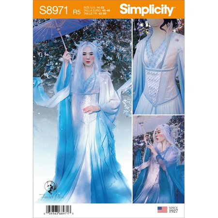 Creative Witty Halloween Costumes (Simplicity US8971R5 Cloud Dragon Dress Gown Corset Coat Cosplay Costume, Size)