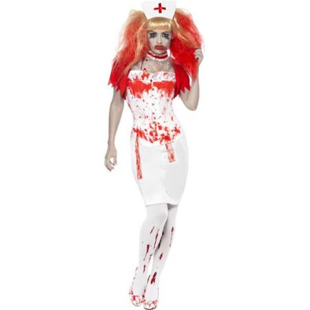 Zombie Nurse Outfit Halloween (Smiffys Bloody Zombie Nurse Adult Scary Halloween)