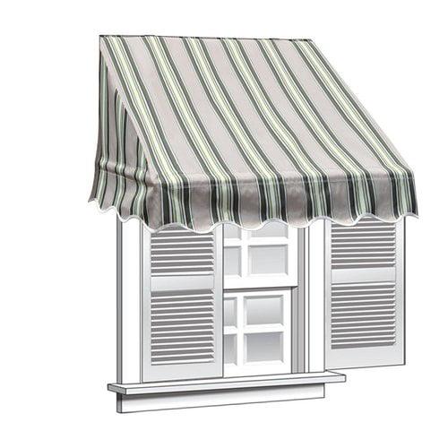 ALEKO 8' x 2' Window Awning Door Canopy, Multistripe Green