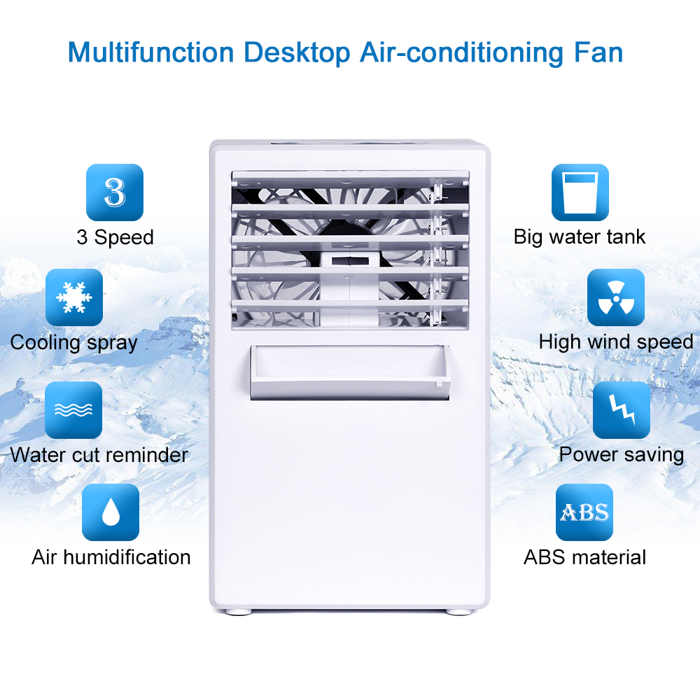 Personal Air Cooler Table Fan with Replacement Filter and Ice Cube Tray Portable Air Conditioner Fan 3 in 1 Mini Personal Air Conditioner,Mini Desktop Cooling Fan