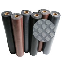 "Rubber-Cal ""Block-Grip"" Rubber Flooring Rolls - 2 mm x 4 ft x 4 ft Rubber Rolls - Black"