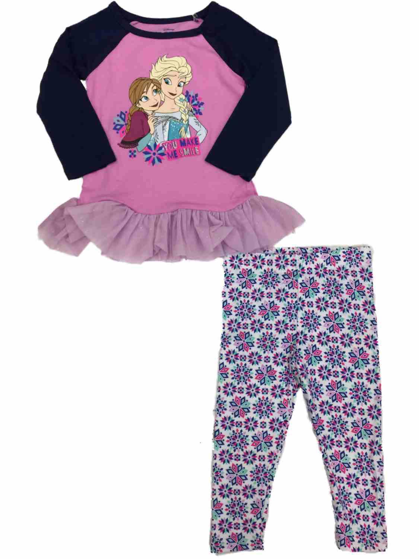 Infant Toddler Girls Disney Frozen Anna & Elsa Top & Snowflake Legging Outfit
