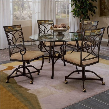 Hillsdale Furniture Pompeii 5-Piece Dining Set with Caster Chairs