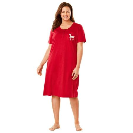 Dreams & Co. Plus Size Cotton Sleepshirt