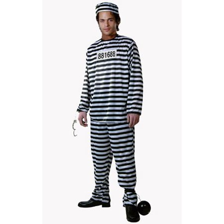 Dress Up America Adult Prisoner Costume, Black/White, Medium](Prisoner Dress)