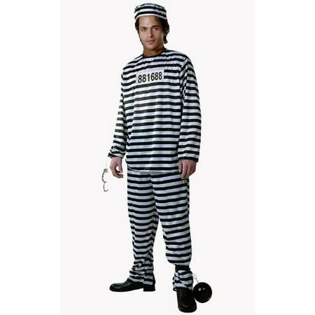 Dress Up America Adult Prisoner Costume, Black/White, Medium](Black And White Striped Prisoner Costume)