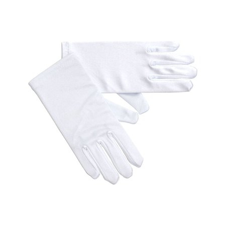 Angels Girls White Satin Short Gloves Pair Baby Little Girls 3-16 - White Gloves Toddler
