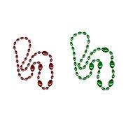 Jumbo Football Beads Green/ Red 2 Piece
