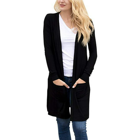 Juniors Sweater Long Sleeve Open Front Lightweight Kimono Cardigan with Pocket Knitted Coat Tops Navy Blue/Black Plus Size S-3XL (Long Sleeve Cardigan For Juniors)