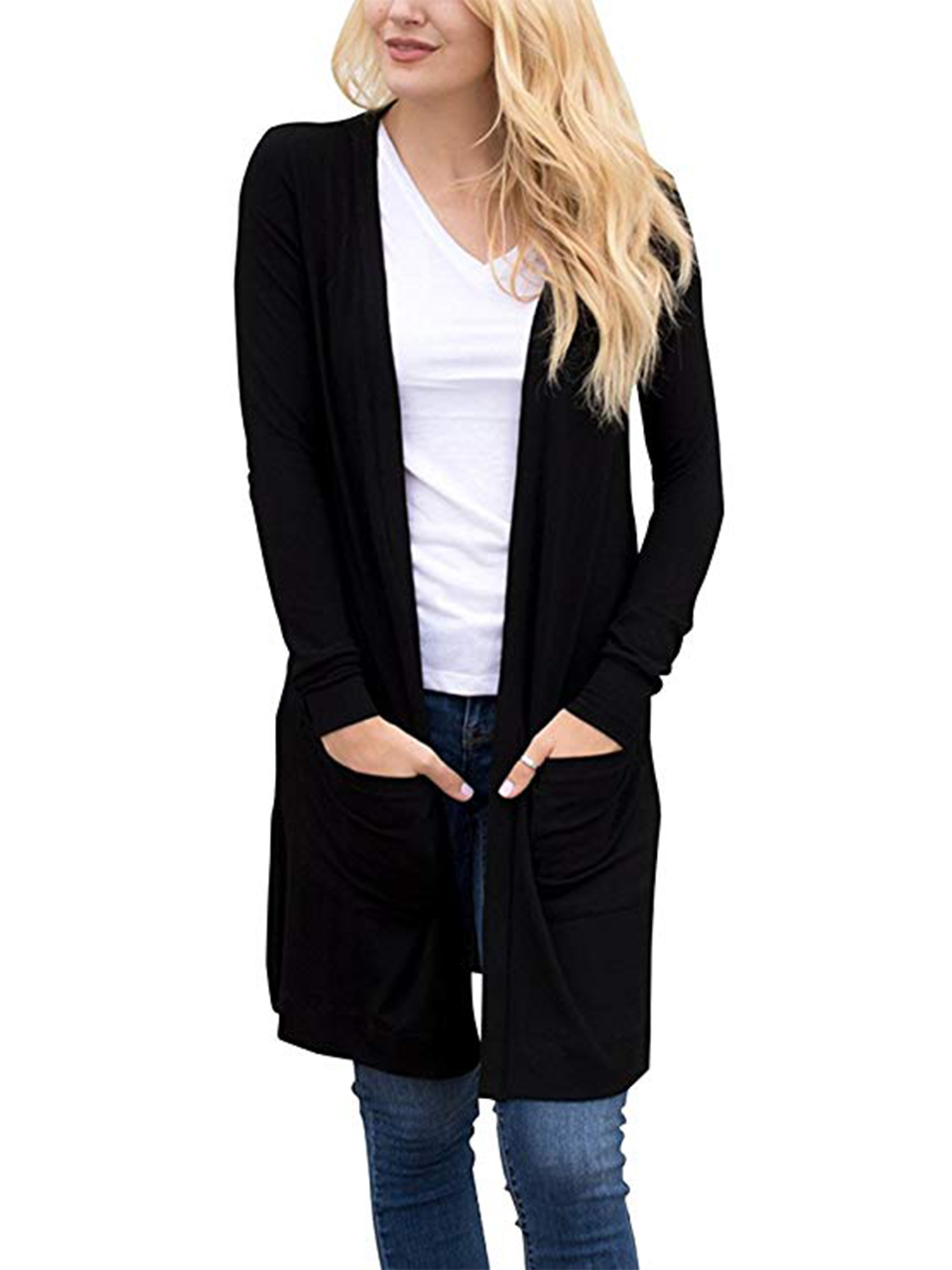 Juniors Sweater Long Sleeve Open Front Lightweight Kimono Cardigan with Pocket Knitted Coat Tops Navy Blue/Black Plus Size S-3XL
