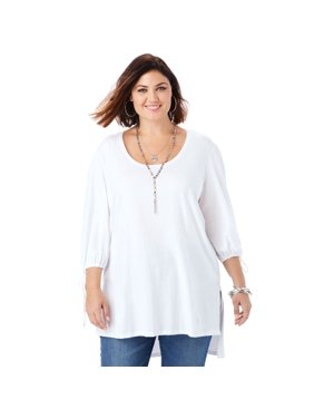 d686e2d8d23ee Product Image Plus Size Tie-sleeve Ultimate Tunic With High-low Hem